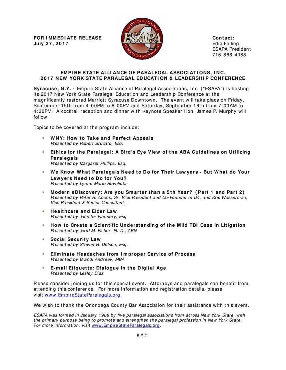 New York City Paralegal Association Esapa 2017 New York State